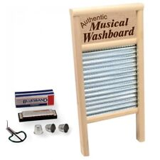 Musical Washboard Set with 3 thimbles, Harmonica, Mouth Harp - Skiffle & Country