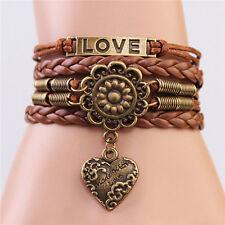 Cool Punk Friendship Infinity LOVE Heart Flower Antique Copper Leather Bracelet