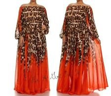 NEW Womens CHIFFON LEOPARD TALL OFF or ON SHOULDER BOHO MAXI DRESS GOWN L LARGE