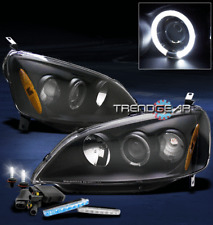 2001-2003 HONDA CIVIC 2/4DR HALO BLACK PROJECTOR HEAD LIGHT W/BLUE DRL+6000K HID