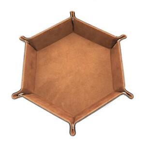 Portable Dice Tray Folding Hexagon PU Leather Tray Desktop Storage Box YS