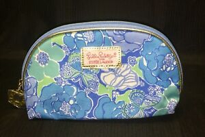New! Estee Lauder Lilly Pulitzer Blue Floral Cosmetic Makeup Bag Pouch Case