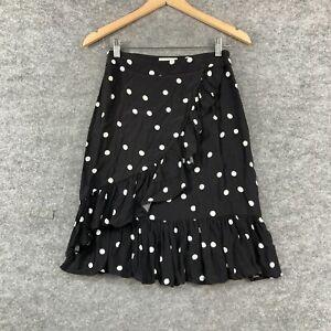 Karen Walker Womens Skirt Size 8 Black Polka Dot A-Line Zip Viscose 267.11