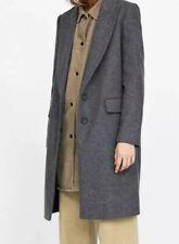 Zara  Grey Masculine charcoal coat classic S wool bnwt
