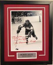 FRAMED SIGNED INSCRIBED BOBBY HULL CANADA 11X14 PHOTO JSA COA