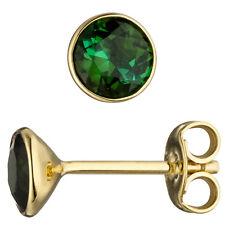 Ohrstecker rund 585 Gold Gelbgold 2 Turmaline grün Ohrringe Turmalinohrringe.