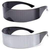 Futuristic Sunglasses Wrap Visor Mirrored Lens Flat Future Robot Costume Glasses