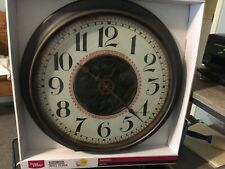 "BETTER HOME 20"" QUARTZ EXPOSED GEARS WALL CLOCK BRONZE FINISH GLASS LENS"