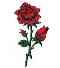 Red Rose - Open - Buds on Stem - Iron on Applique/Embroidered Patch