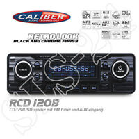 "Caliber RCD120B FM RDS ""Retro Look"" Radio CD MP3 USB SD MMC WMA Autoradio black"