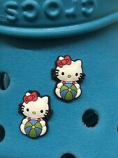 2 Hello Kitty Beach Ball Shoe Charms For Crocs & Jibbitz Wristbands. Free UK P&P