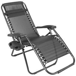 Zero Gravity Chair Black Recliner Folding Patio Garden Single Set of 2 Set of 4