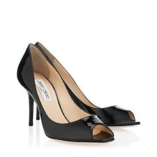 $695 Jimmy Choo Evelyn Black Patent Peep Toe Pumps Heels SZ 37.5