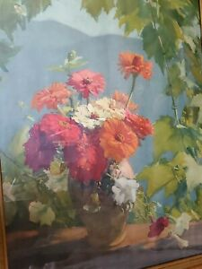 Old oil painting, Print {Many Benner French 1873m -1965} Zinnias~Framed~Rare