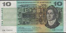 Australia $10  ND. 1968 P 40c Prefix SSN Circulated Banknote