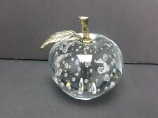 Vintage Apple Shape Paperweight - Art Glass with Controlled Bubbles  Gold Stem