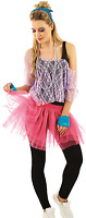 Ladies Sexy Instant 1980s 80s Lace Tutu Top Beads Fancy Dress Costume Outfit Kit
