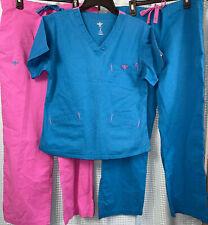 Med Couture Scrub Set 8403 Top Dslp 8705 Pants Lpds size Small Ez flex lot of 3