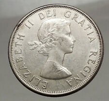 1960 CANADA - SILVER 50 Cents Old Coin UK Queen ELIZABETH II Unicorn Lion i57119
