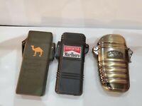 SET Of 3 VINTAGE ~1992~ Marlboro Adventure Team Lighter Black & 2 CAMEL Lighters