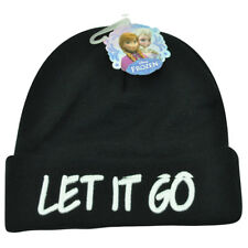 Disney Frozen Let It Go Song Princess Movie Cuffed Beanie Acrylic Knit Hat Toque