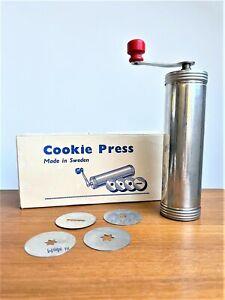 SVEICO COOKIE PRESS Vintage Metal Crank Made in Sweden with Original Box