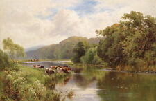 Large oil painting cows drinking water by the river in summer view on canvas
