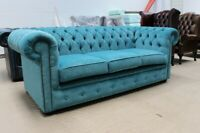 CHESTERFIELD TUFTED BUTTONED 3 SEATER SOFA COUCH TEAL BLUE FABRIC