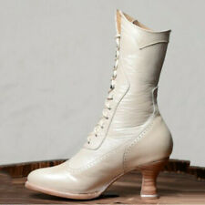 Women Retro Kitten Heel Mid Calf Boots Ladies Pointed Toe Lace Up Shoe