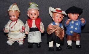 Four! LITTLE German Celluloid DOLLHOUSE DOLLS Original Clothes