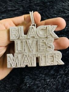 925 Sterling Silver Black Lives Matter Hip Hop Pendant Charm w/ Rope Chain