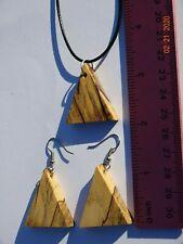 Womens Exotic Wood dangle earrings/necklace set HANDMADE Jewelry Gift