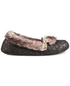 Isotoner Signature Women's Metallic Quilted Monica Moccasin Slippers