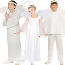 Child White Angel Gabriel Fancy Dress Costume Christmas Nativity Kids Outfit New