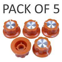 5x Orange 6mm Spline Shaft Potentiometer Volume Control Knob Cap Plastic