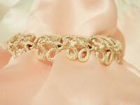 Super Pretty Vintage 70's White Gold Tone Crown Trifari Modernist Bracelet 23Ap8