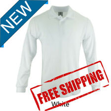 XL-Size Mens Poly/Cotton Classic Long Sleeve Plain Polo Shirt Uniform/White*