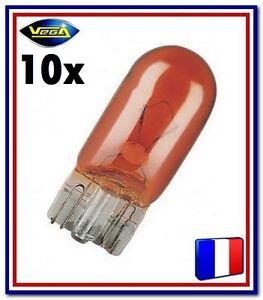 10 Ampoules Vega® Clignotant WY5W W5W Orange inaltérable teinté masse 12396 12V