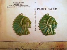 Verdigris Patina Brass Indian Chief Charm Stampings (2) - Vpmbr8010