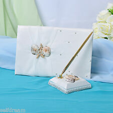Ivory Satin Bow Guest Book and Pens -GB55b
