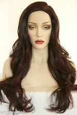 Ash Black And Burgundy Frost Brunette Long Skin Top Straight Wigs