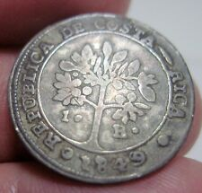 1849 (COSTA RICA) 1 REAL (SILVER)  FEMALE / COFFEE TREE-   DOUBLE PUNCHED DATE--