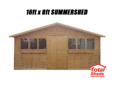 16FT X 8FT GARDEN SHED/SUMMER HOUSE WITH +1FT OVERHANG HIGH QUALITY TIMBER