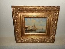 Antique oil painting,{ Coast landscape with a sailboat, Th. Wissen 1866 - 1954}.