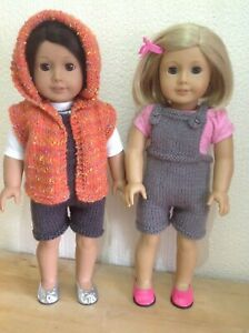 """Dolls clothes knitting pattern.18"""" doll. Hooded Gilet and short dungarees. KNM86"""