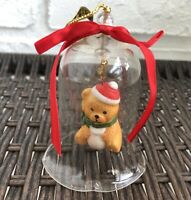 """Jasco Lil Chimers Crystal Bell Tree Ornaments Bear With Santa Hat 3 1/2"""" Vintage"""