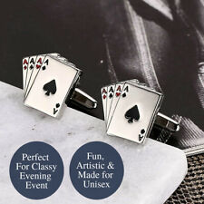 Stainless Steel 4 Aces Novelty Poker Playing Game Card Suit Buttons Cufflinks