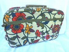 Vintage 1960's Floral Tapestry Mini Suitcase LOCKABLE with Key! EXCELLENT