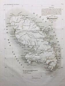 Île de La Martinique en 1836 Saint Pierre Fort Royal Fort Bourbon Antilles