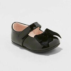 Cat & Jack Baby Infant Girl Dayja Bow Hook & Loop Ballet Flat Black Patent US 2